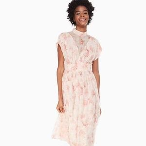 NWOT Kate Spade Chiffon Rose Midi Dress